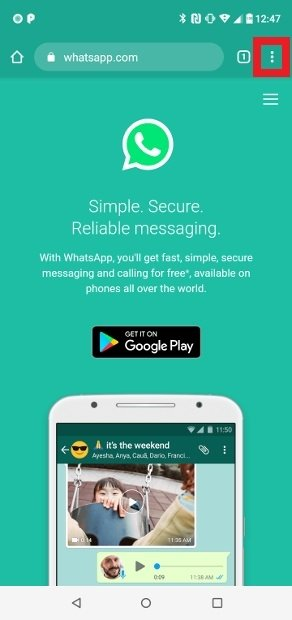 Visita la web de WhatsApp con Chrome para Android