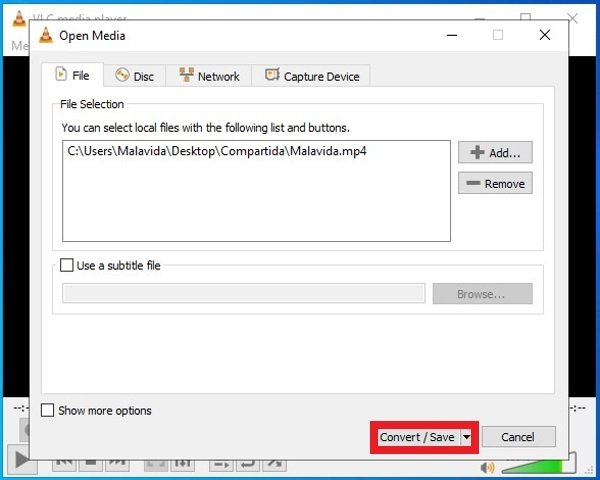 VLC's  Convert button
