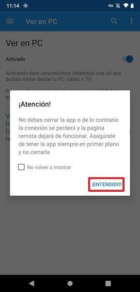 Advertencia para no cerrar la app