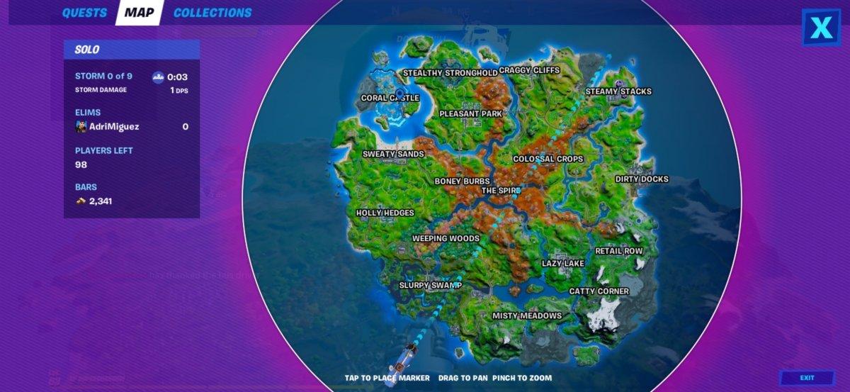 Sur la carte, nous pouvons marquer le point que nous voulons atteindre en le touchant du doigt