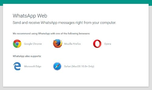 Webbrowser compatibili con WhatsApp Web