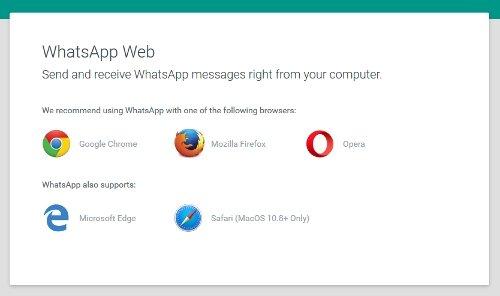 Navegadores web compatibles con WhatsApp Web