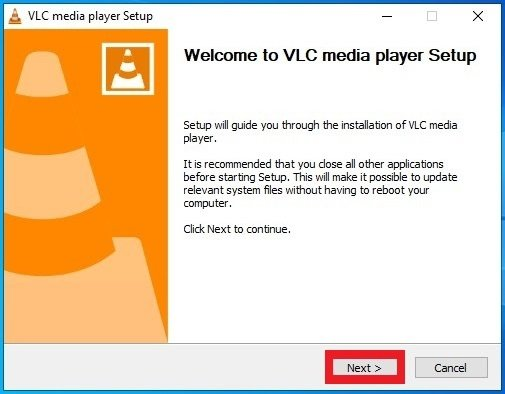 Welcome screen of the VLC installation process