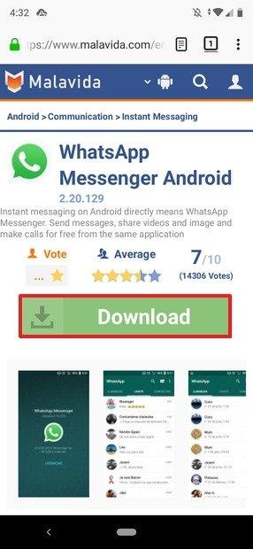 Pagina di WhatsApp in Malavida