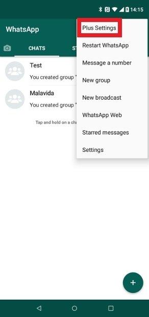 WhatsApp Plusオプションメニュー