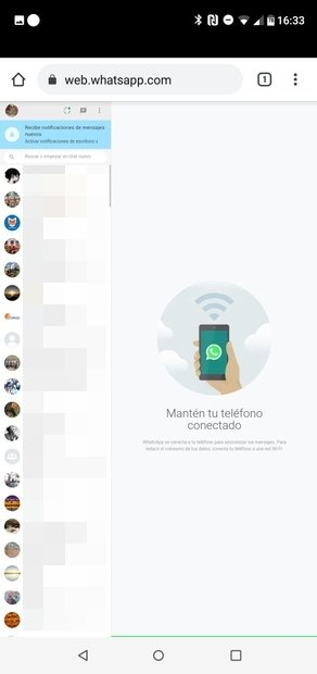 WhatsApp Web on an Android phone