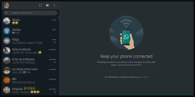 WhatsApp Web en mode sombre