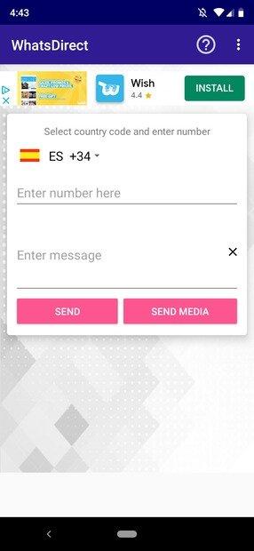 WhatsDirect Startbildschirm