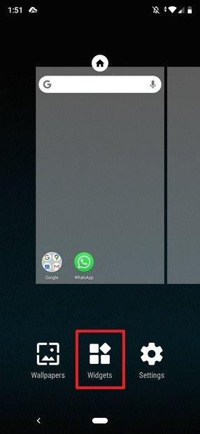 Botón de widgets