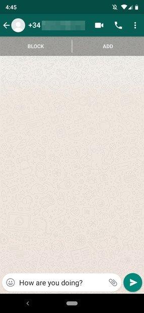 Nicht hinzugefügte Kontaktfenster auf WhatsApp
