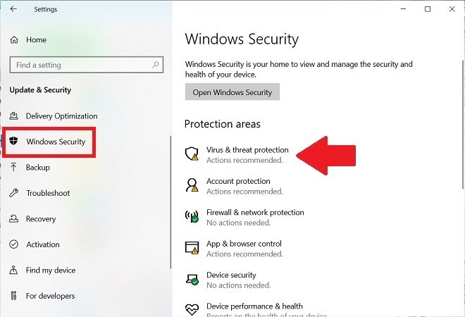 Windows 10 security options