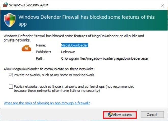 Aviso del firewall de Windows
