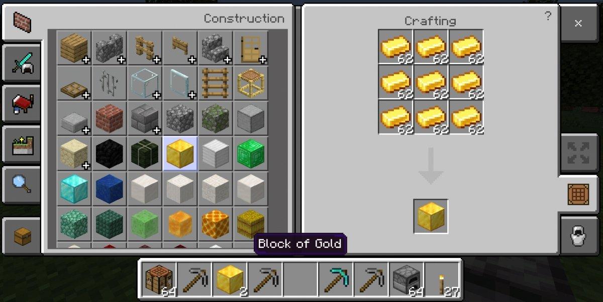 Con 9 lingotes puedes crear un bloque de oro