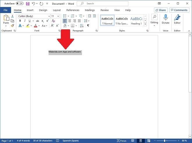 Escribir texto y seleccionarlo