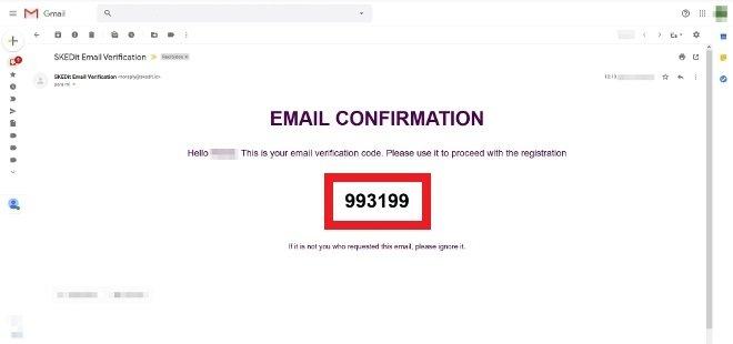 Anote o código de verificação recebido