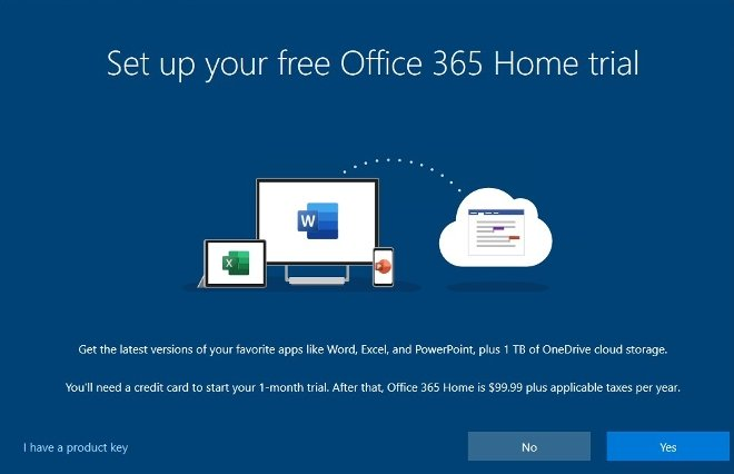You can start your Office 365 trial period
