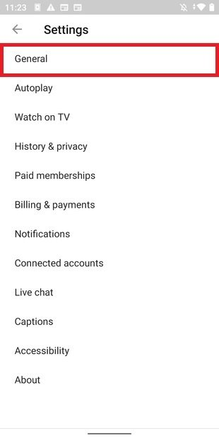 YouTube's general settings