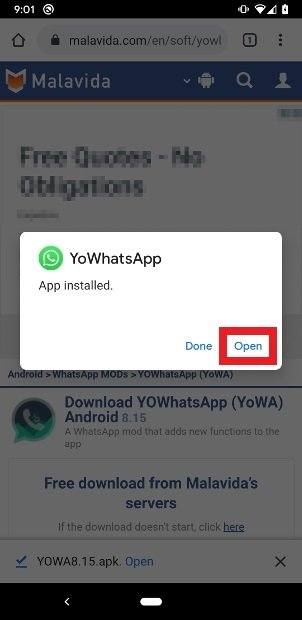 YOWhatsApp's update completed