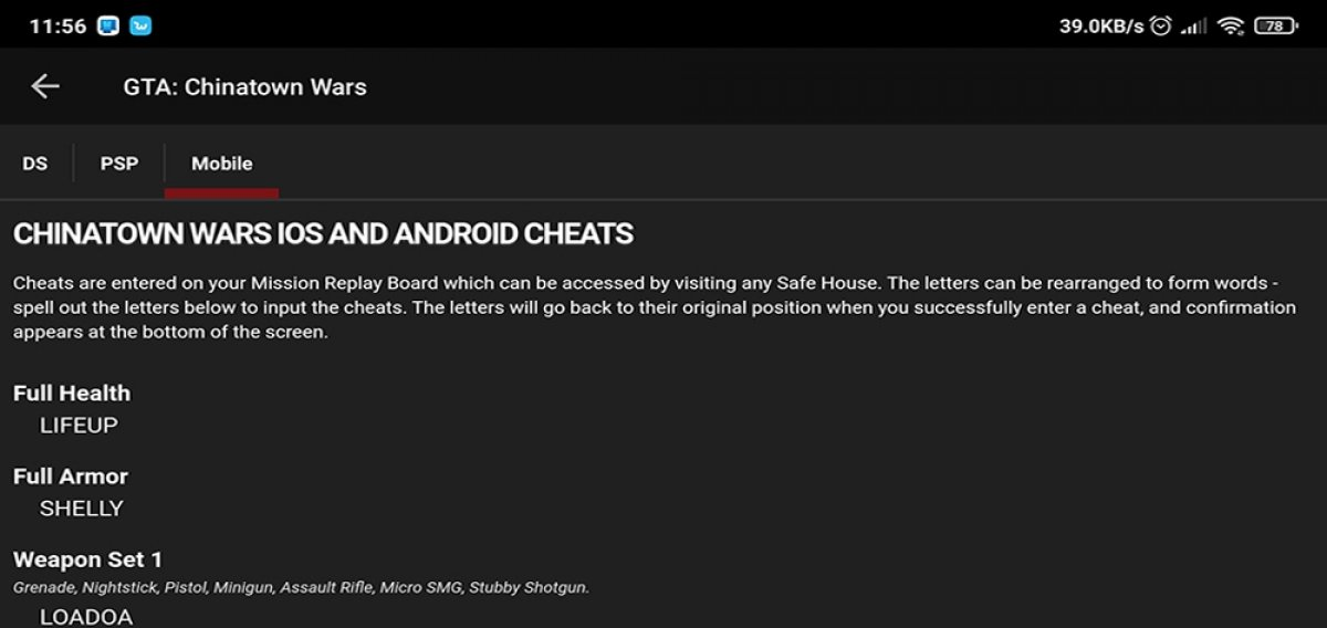How do the cheats for GTA Android work