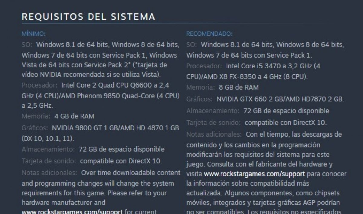 Requisitos de sistema de GTA 5