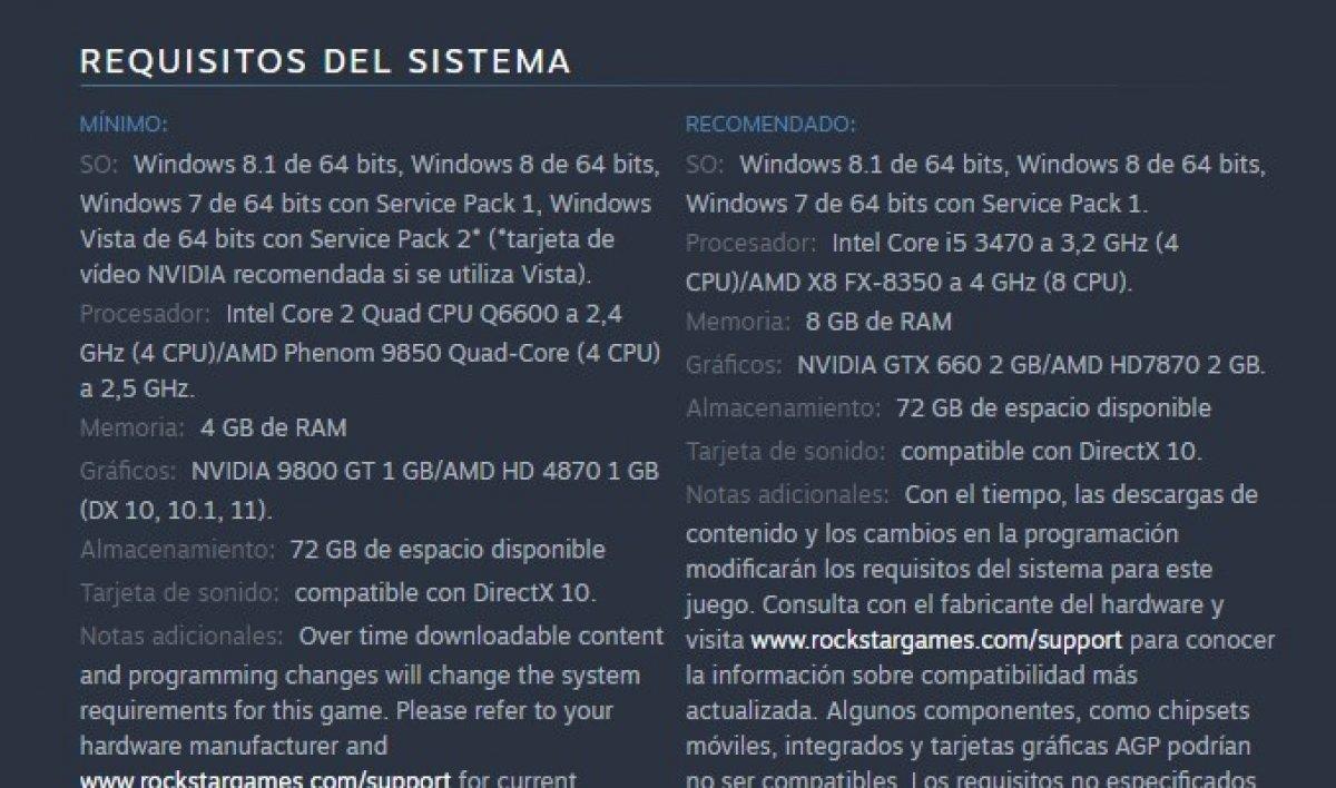 Requisitos de sistema de GTA 5