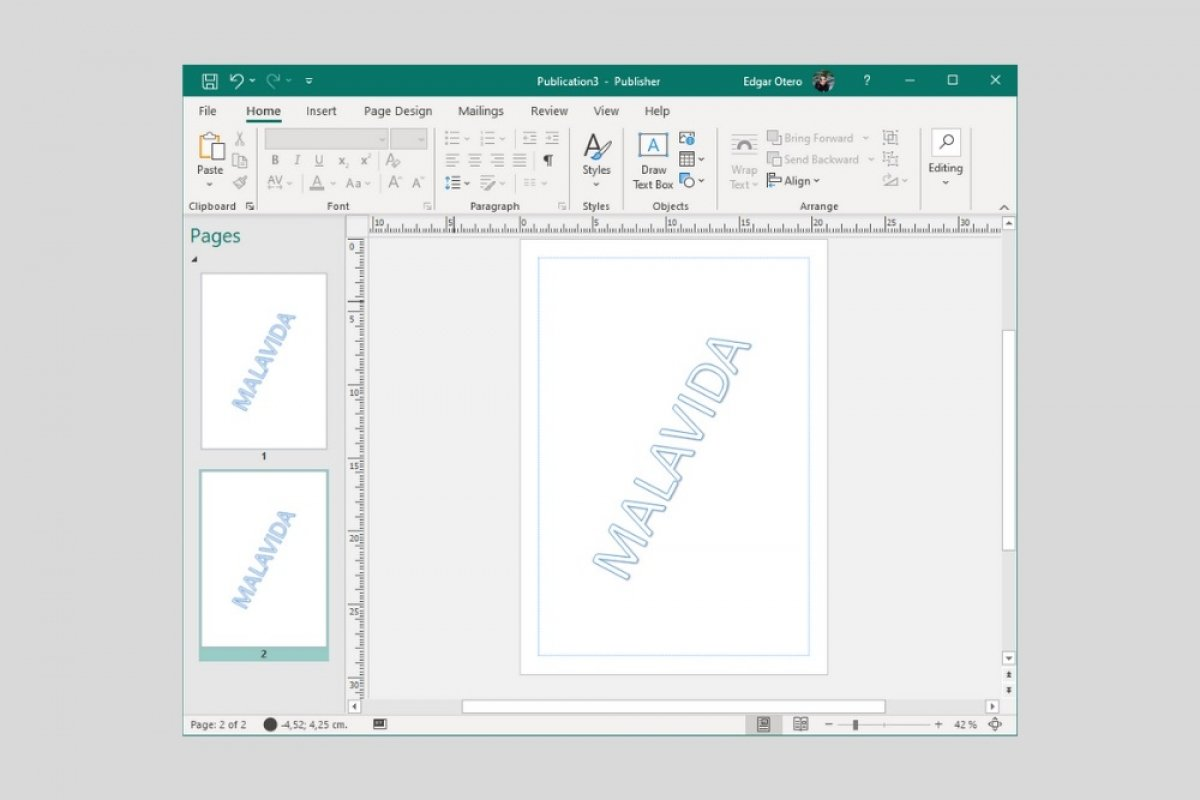 Where is the watermark in Microsoft Publisher