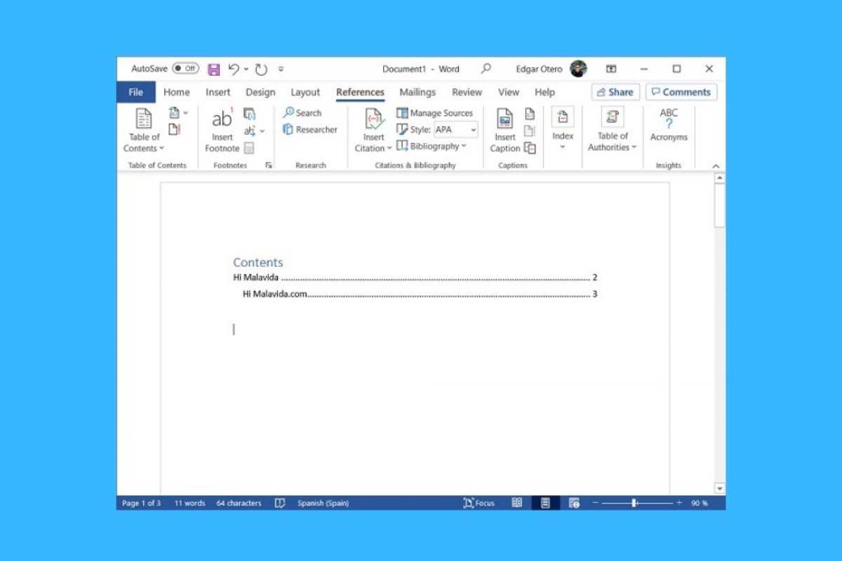How to make a table of contents in Word