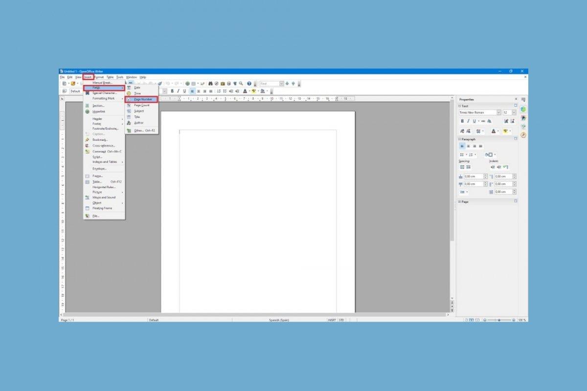 Cómo numerar páginas en OpenOffice