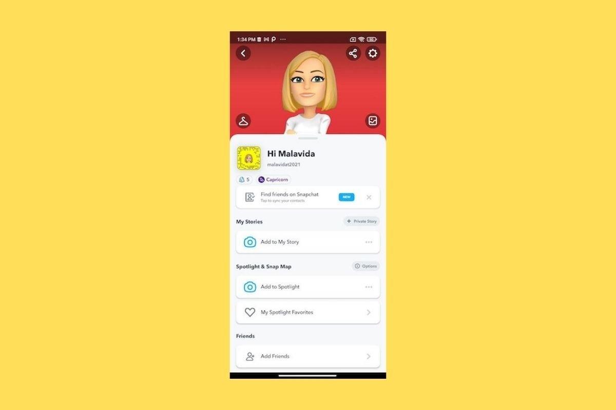 Cómo crear un Bitmoji en Snapchat
