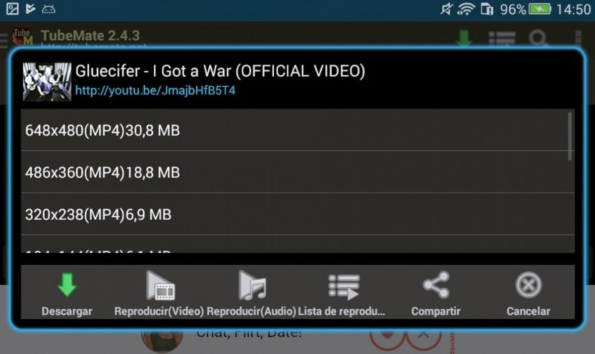 Cómo bajar vídeos desde TubeMate YouTube Downloader