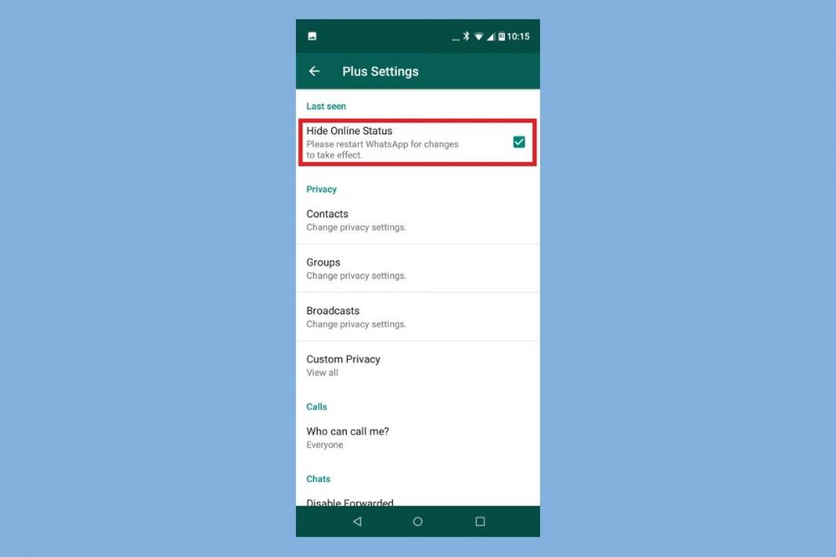 Cómo ocultar mi estado 'en línea' en WhatsApp Plus