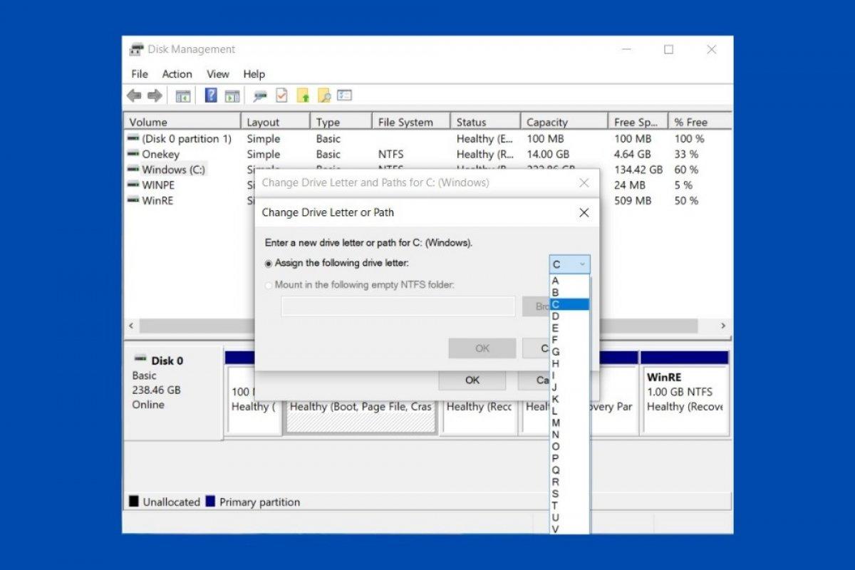 Windows 10のユニットの文字を変更する方法