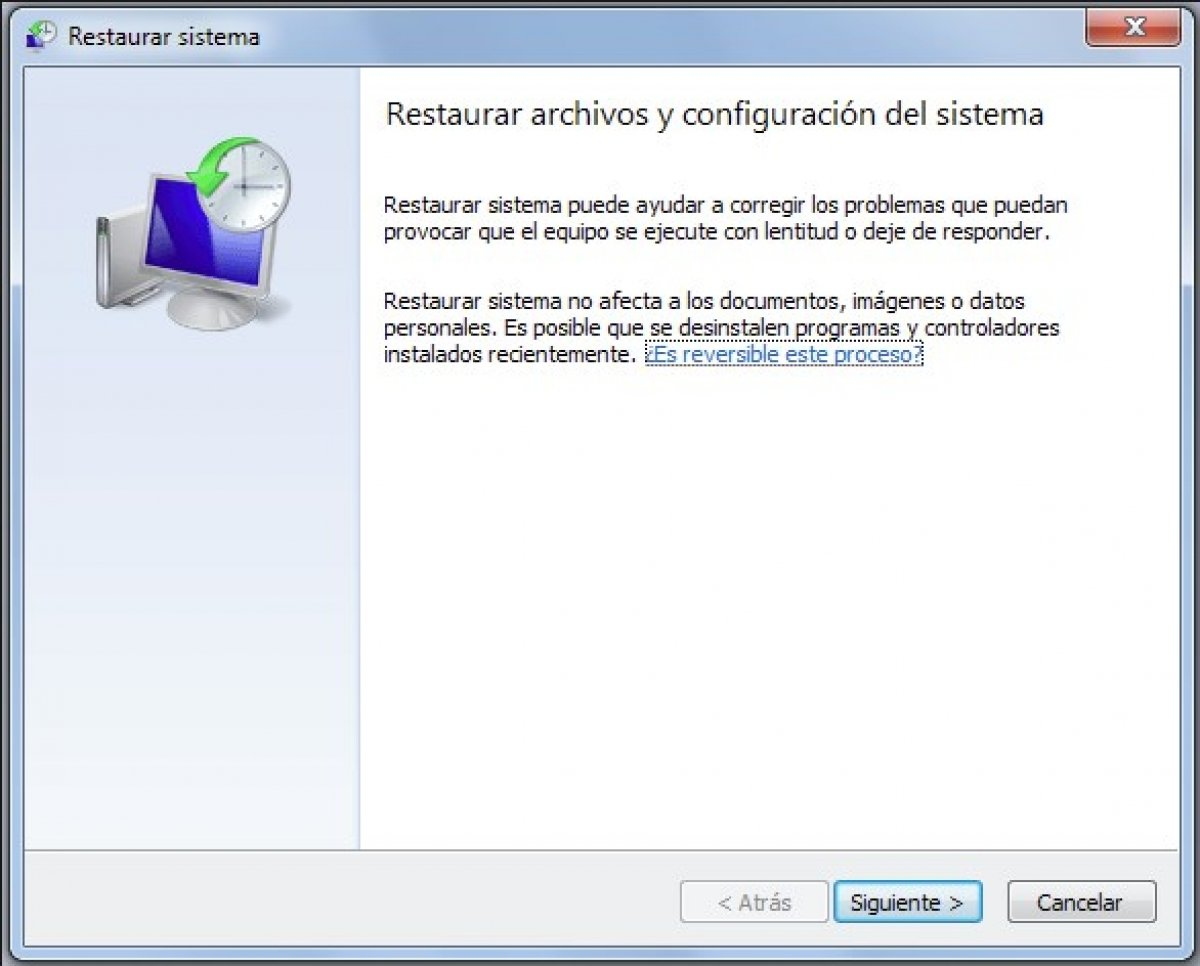 Cómo restaurar el sistema en Windows 7