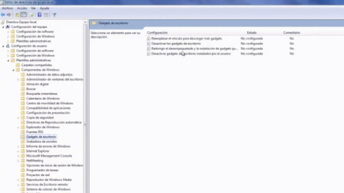 Cómo quitar Gadgets en Windows 7