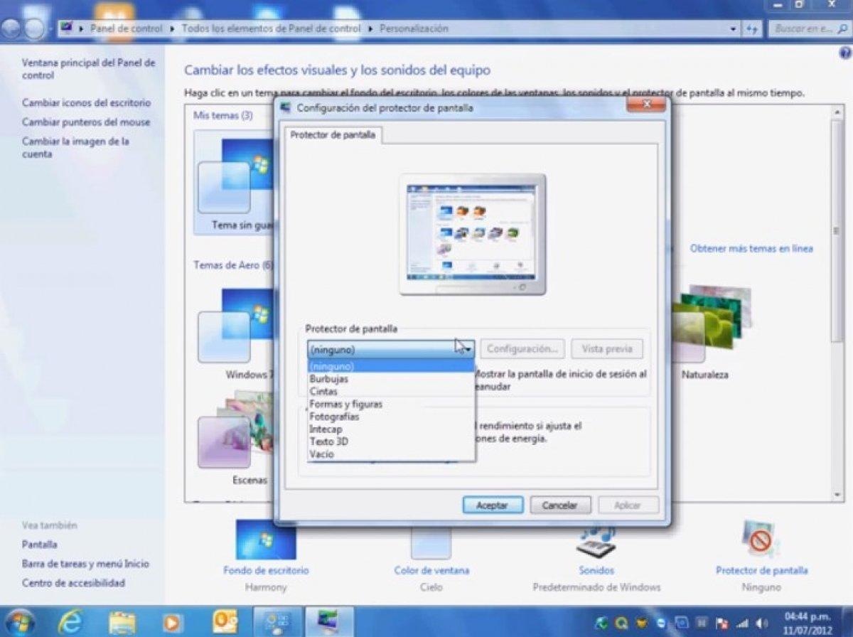 Cómo configurar el Salvapantallas en Windows 7