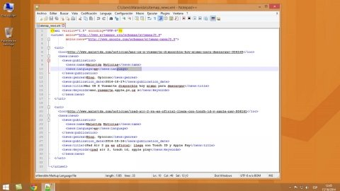 Cómo crear un sitemap de noticias con Notepad++