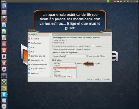 Configura Skype de forma general